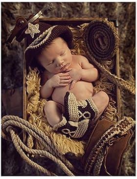 Handmade Infant Newborn Baby Girl Boy uncinetto maglia cappello da cowboy stivali fotografia props Outfit Costume