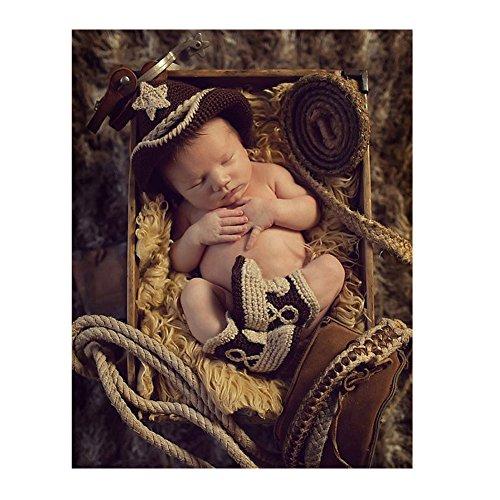 Handgefertigt Infant Newborn Baby Mädchen Boy Crochet Knit Cowboy Hat Boots Fotografie Requisiten OUTFITS (Kostüme Milch)