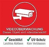 10 Stück + 1 Gratis Premium Aufkleber Videoüberwachung Warnhinweis Überwachungskamera Schild videoüberwacht Warnschild Kameraüberwachung selbstklebend und Wetterfest für innen & Außen mit UV Schutz