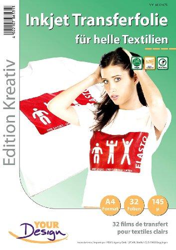 Your Design Bügeltransferfolie: 32 T-Shirt Transferfolien für weiße Textilien A4 Inkjet (t Shirt Bügelfolie)