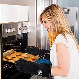 HUAFA Guanti da forno – pelle guanti da cucina, resistenti al calore fino a 350 ℃, nero, 1 coppia