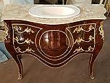 LouisXV Barock Kommode Tisch Bad Möbel Badezimmer Wasch Becken MkKm0028 antik Stil Massivholz. Replizierte Antiquitäten Buche Antikmessing.