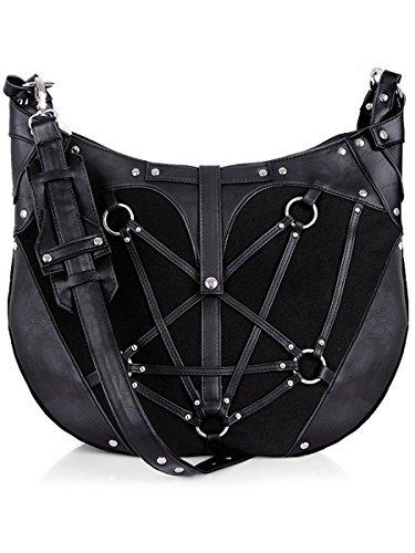 (Dark Dreams Gothic Steampunk Metal Tasche Hobo Bag Restyle schwarz Metal Pentagramm Nieten)