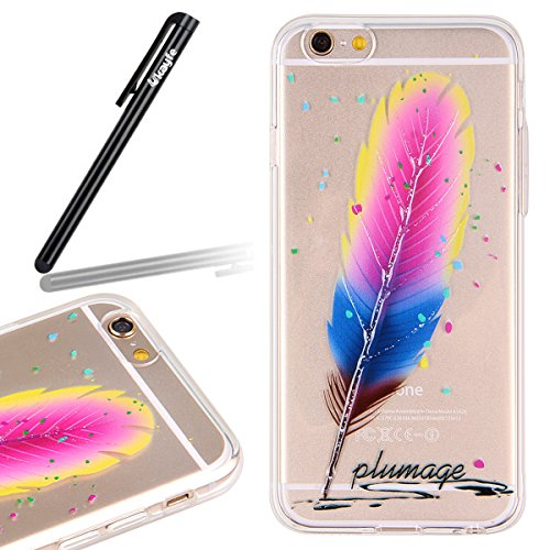 Coque pour iPhone 6 Plus, iPhone 6 Plus Coque en silicone, iPhone 6 Plus Etui Housse, iPhone 6s Plus Etui Housse, iPhone 6s Plus Coque Etui en silicone, iPhone 6 Plus Silicone Case TPU Cover, Ukayfe E Powder Blue Feather