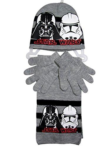 Star Wars Mütze Handschuhe und Schal Kollektion 2016 One Size 6 - 9 Jahre Sturmtruppler Darth Vader Stormtrooper Grau (6 - 9 Jahre; Prime) (Star Wars Handschuhe)