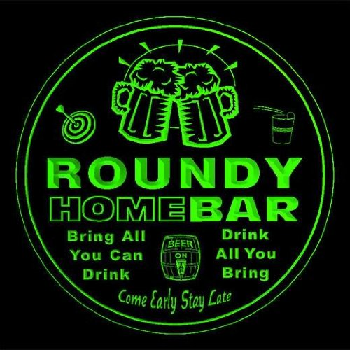 4x-ccq38406-g-roundy-family-name-home-bar-pub-beer-club-gift-3d-coasters