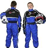 Qtech - Kinder Rennanzug für Gokart/Motocross/Dirt Bike - Blau - S