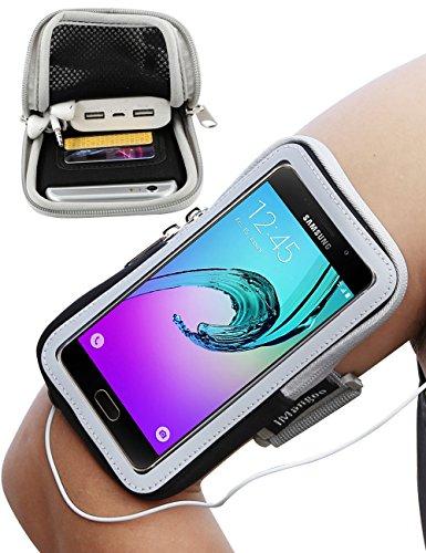 Galaxy A5 Armband, iMangoo Sport Armband mit Schlüsselhalter Extension Strap Schutz Handgelenk Tasche Wallet kompatibel mit Samsung Galaxy A5 J5 S10 S10e S9 S8 OnePlus 7 6T Schwarz (Schnee-sport-tasche)