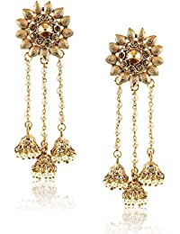 Meenaz Fashion Jewellery Traditional Gold Plated Pearl Jhumka Jhumki Earrings For Women Partywear Stylish Wedding...