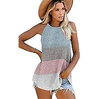 JIER Camisetas sin Mangas a Rayas de Verano para Mujer Camisas sin Mangas Ocasionales Sueltas Camis Blusas Chaleco