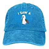 Zengyan Men's/Women's I Saw A (Blue-Footed) Booby Funny Birding Yarn-Dyed Denim Baseball Cap Adjustable Hat