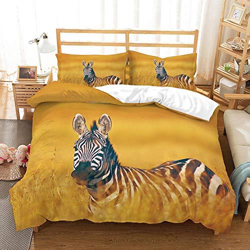 Bettwäsche-Set 3D Zebra Druck 3 Stück Set Bettwäsche 100% Mikrofaser Für Zuhause Schlafzimmer Dekoration (1 Bettbezug + 2 Kissenbezüge) Twin(172x218cm)
