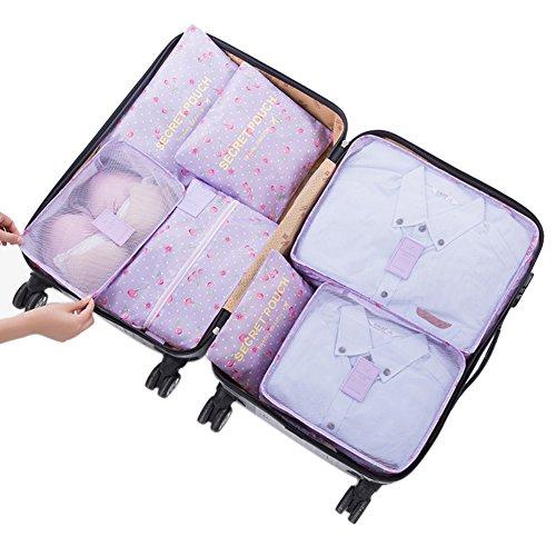 Belsmi Reise Kleidertaschen Set 7-teilig Reisetasche in Koffer Reisegepäck Organizer Kompression Taschen Kofferorganizer Mit Schuhbeutel (Grün) Lila Kirsche