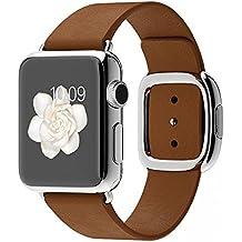 Apple Watch Edelstahl Smartwatch , Größe :38 mm Gehäuse, Armband:Leder - Modern, Armbandfarbe:Braun - M (145-165mm)