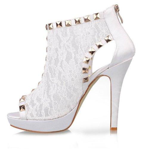 Minitoo TH13139 dentelle pour femme à talon à Paillettes pour robe de mariée ou de soirée Sandales décollement de la cheville Blanc