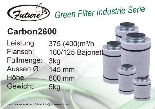 Future Green Filter Industrie 400m³/h 125mm - Bereich Kohle-filter