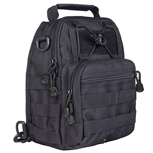 S-ZONE Leichte Tactical Sling Rucksack Militär Schultertasche Umhängetasche EDC Brusttasche für Outdoor Sport Camping Wandern A-Schwarz