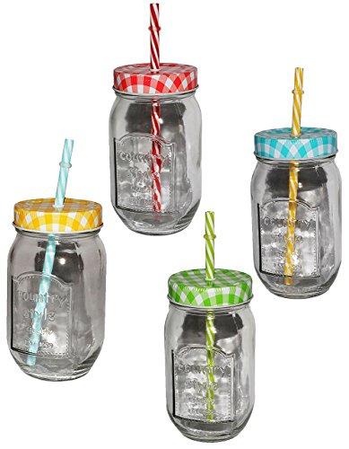 äser mit Strohhalm & Deckel - Bunte Farben - Trinkbecher als  Milchglas  Sommerglas - Flasche z.B. Limonade Erfrischung Sommer - Smoothie Becher T.. ()