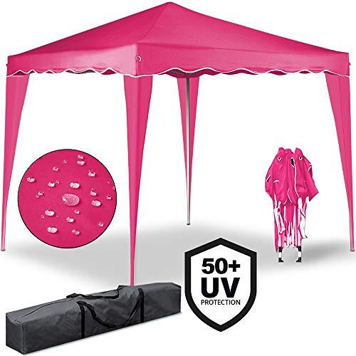 Deuba® Pavillon Capri 3x3m | wasserdicht | Pop-Up | inkl. Tasche | UV-Schutz 50+ | Faltpavillon Gartenzelt Partyzelt | pink | Farbauswahl