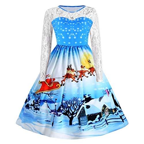 B-commerce Frauen Weihnachtskleid - Damen Langarm Katzen Musical Notes Print Vintage Kleid Plus Size Schneeflocke Flare Kleid Langarm Swing Lace Partykleid (XX-Large / (EU:40), Blau ()