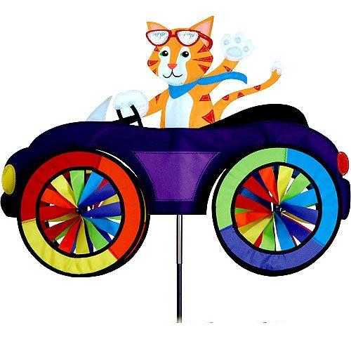 Girouette Chat sur son vélo - moulin à vent chat pour jardin,terrasse,balcon - décoration extérieure chat - Matériau : tissu haut de gamme en polyester SunTex renforcé, structure en fibre de verre. Résiste aux UV et intempéries, Diamètre des roues : 20cm, Dimension : 64cm x 50cm, Hauteur: 110cm