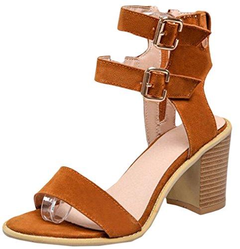 Y-BOA 1 Paire Sandales à Talon Haut Bloc Cheville Chaussures Été Femme Lanières Similicuir Nubuck Marron