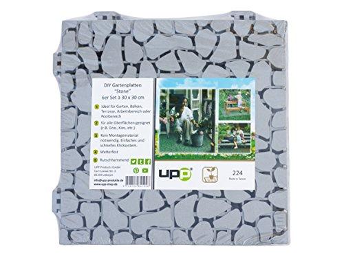 UPP® Gartenplatten 30x30cm/Terrassenplatten/Gartenweg/Beetplatten/Bodenplatte (24 Teile, Stone)