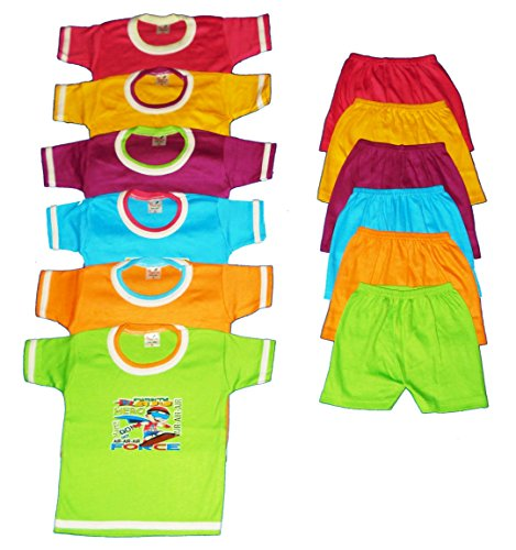 6 Piece -Apt Padhus Baby Boys Cotton Dress PF050_Multicolor_6-12 Months)