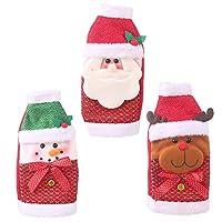 Esoes Christmas Wine Bottle Bags,3 Sets Wine Glass Bottle Toppers Santa Claus Bottle Bags,Pattern Bottle Gift Wrap Party Festival Decors Holders