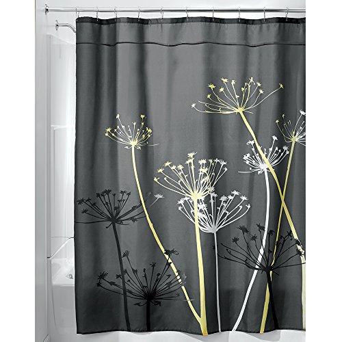 interdesign 180 x 200 cm thistle shower curtain greyyellow