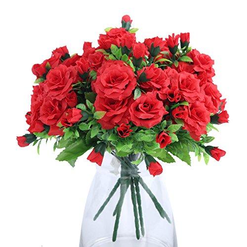 Niya Soft Wedding Rose Vivid Fresh Silk Rose Artificial Flowers Hibiscus75 Heads 2pcs (Hibiscus Flower Vase)