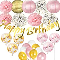 Jolily Decorazioni Feste Compleanno Decorazioni Feste Scintillanti Banner  Compleanno Dorate Lanterne Carta Fiori Tessuti e994af165207