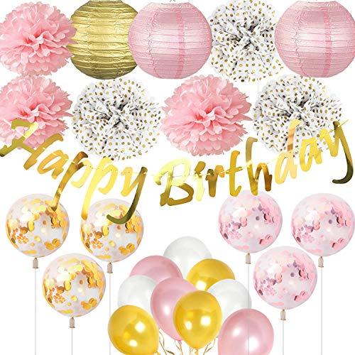 Jolily Decoraciones fiestas cumpleaños artículos Estandarte dorado brillante cumpleaños linternas papel, flores lunares, globos confeti rosa dorado blanco ducha nupcial niñas decoración
