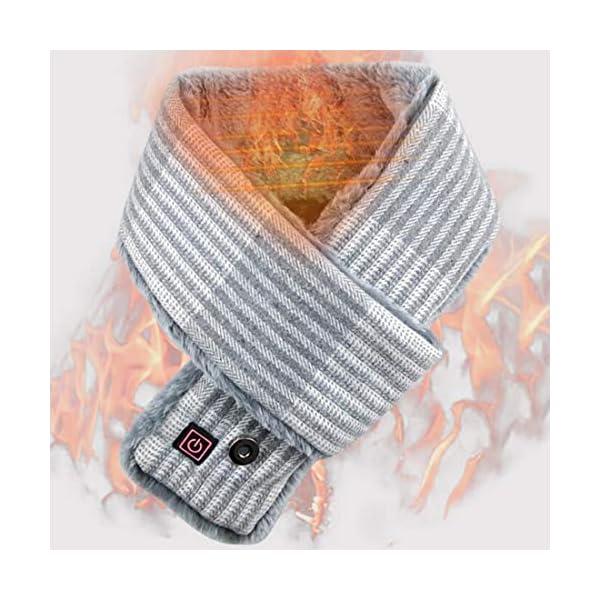 Unbne Climatizada Bufanda USB eléctrico calienta Caliente Cuello de la Bufanda del Abrigo de Invierno frío,Gris 3