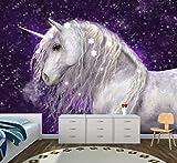 Vlies XXL-Poster Fototapete Tapete Kinder Einhorn lila Material Decor selbstklebend, Größe 160 x 120 cm 2-tlg