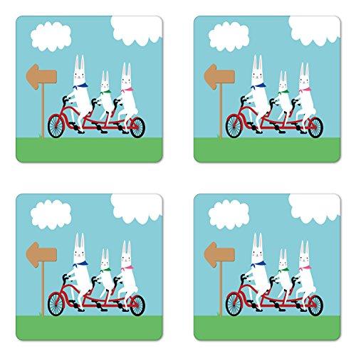 Lunarable Kawaii Untersetzer 4er Set Hasenfamilie im Tandem Fahrrad auf Einer Feldfahrt lustige Cartoon Stil Illustration, quadratische Hartfaserplatte glänzend Untersetzer für Getränke, Mehrfarbig