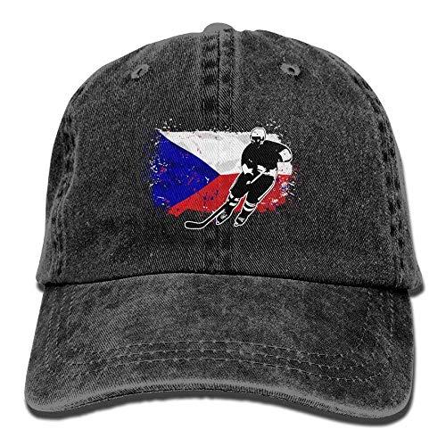 Hoswee Unisex Kappe/Baseballkappe, Hockey Czech Flag Denim Hat Adjustable Women's Great Baseball Hats