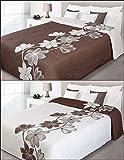 Tagesdecke Bettüberwurf 220x240 (lily/creme - braun ) Baumwolle zweiseitig