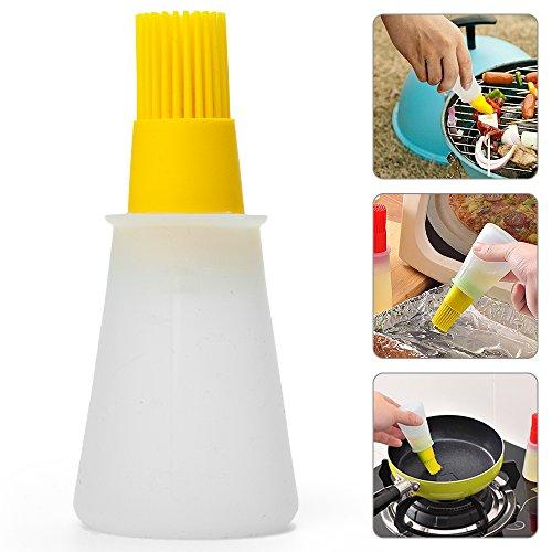 Silikon Öl- Flasche mit Pinsel Honig- Flasche für BBQ Kochen, Backen und Picknick-- Gelb