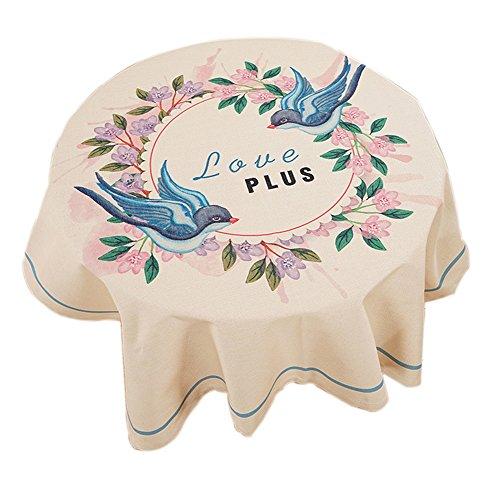 Leinen Tischdecke Quadratische Weiße (Quadratische Baumwolle und Leinen Hirten Stil Tischdecke, Cartoon Vögel)