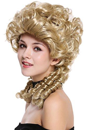 (WIG ME UP - DH1009-ZA89 Perücke Damen Karneval Barock Renaissance Romantik Spiral Hofdame Locken toupiert Blond)