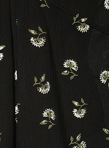 Azbro Women's V Neck Open Back Floral Printed High Low Dress Black