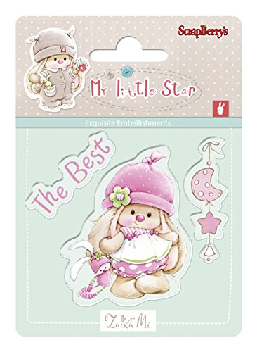 scrapberry 's Bunny My Little Star Clear Stamps Set, Acryl, Transparent, 7x 7cm Corp Bunny