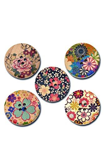30mm flor patrón madera coser botones,50pcs mezcla Color