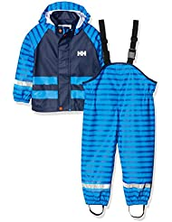 Helly Hansen K Voss Rainset Aop - Conjunto chaqueta y mono con peto y tirantes para niños, color azul, talla 122/7