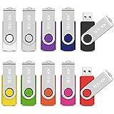 MECO 10Pcs USB Flash Drive USB 2.0 Memory Stick Fold Storage Thumb Stick Pen Drive Swivel Design Multi-color 2GB
