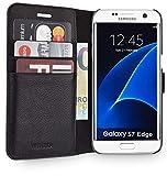 WIIUKA Echt Ledertasche -TRAVEL Away- für Samsung Galaxy S7 Edge mit Vier Kartenfächern, extra Dünn, Tasche Schwarz, Leder Hülle kompatibel mit Samsung Galaxy S7 Edge