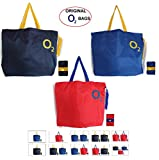 O2 Infi Foldable Shopping Bag - Folds to Pocket Size, Tote Grocery Shoulder Handbag Travel Beach Bags (Navy Blue, Royal Blue and Red Colour,Pack of 3)