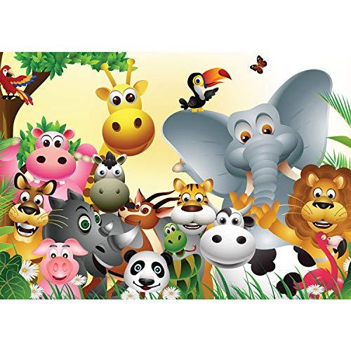 Vlies Fototapete PREMIUM PLUS Wand Foto Tapete Wand Bild Vliestapete - Kindertapete Comic Tiere Zootiere Zoo Elefant Löwe Schlange - no. 2830, Größe:416x254cm Vlies