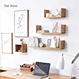 INMAN HOME Eiche Massiv Holz U Form Floating Wandregal Storage CD Rack Bücherregal Bild Regal, rustikal Holz Wand Display Dekoration, Eichenholz, Eiche, 40,6 cm